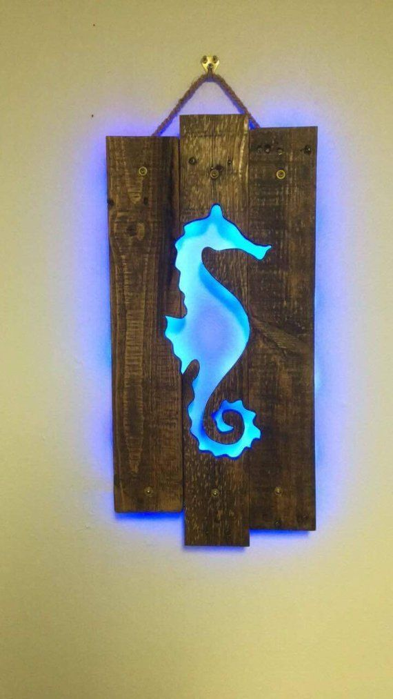 woodworking – Seahorse Cutout Wall Art Repurposed Pallets & LED Lit