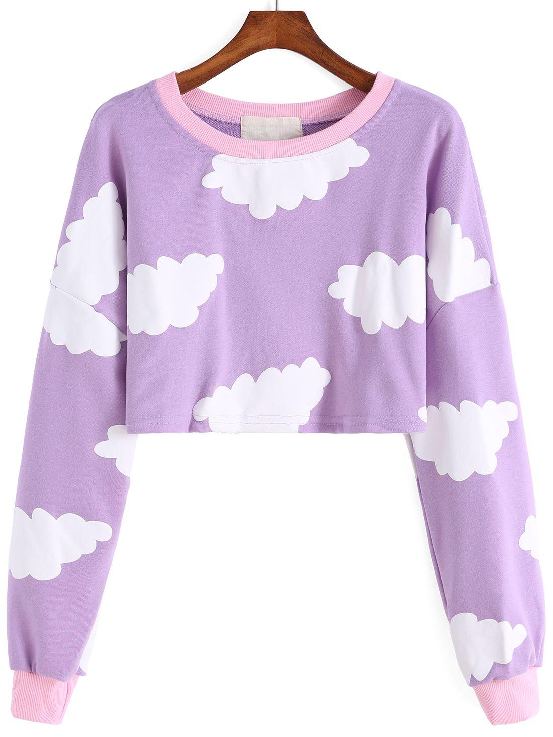 Cloud Print Crop Sweatshirt 24.67 | 4 Spring | Pinterest | Cloud ...