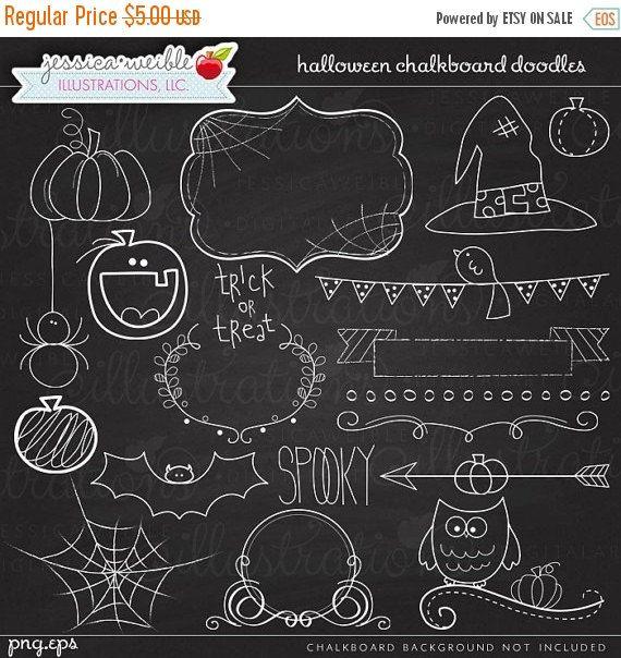 Halloween Chalkboard Doodles Digital Clipart-Commercial Use OK-Chalkboard Art, Halloween Chalkboard Graphics, Halloween Clipart #eleganthalloweendecor