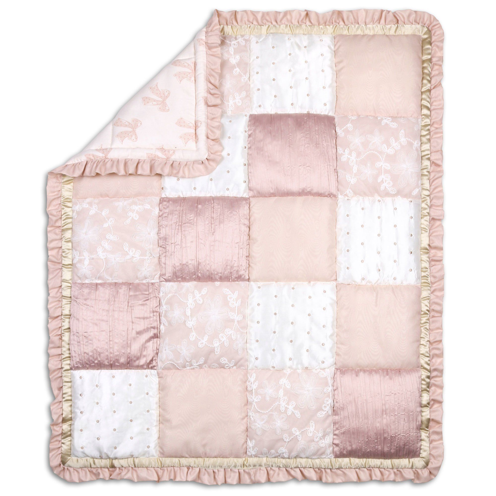 Grace 4 Piece Baby Girl Dusty Pink Floral Layered Patchwork Crib Bedding Set Details Can Be Found By Clicking Pink Crib Bedding Crib Bedding Girl Pink Crib