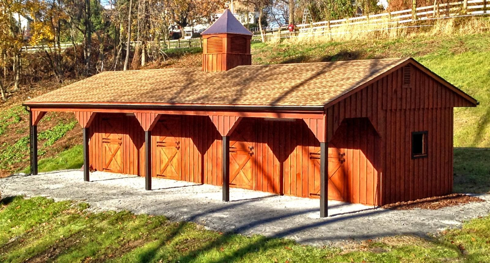 Horse barns shed row in 12x48 with 8 foot overhang front for 4 stall barn designs