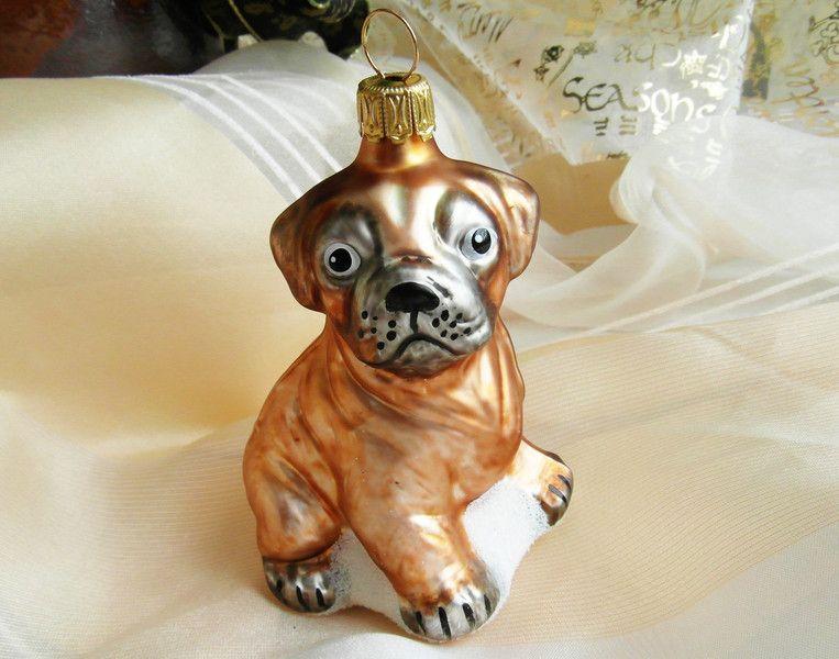 Weihnachtsdeko Hund.Baumschmuck Sonstige Brauner Mops Hund Weihnachtsdeko