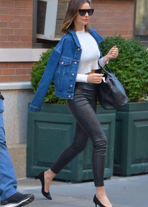 Miranda Kerr in Leather out in Manhattan