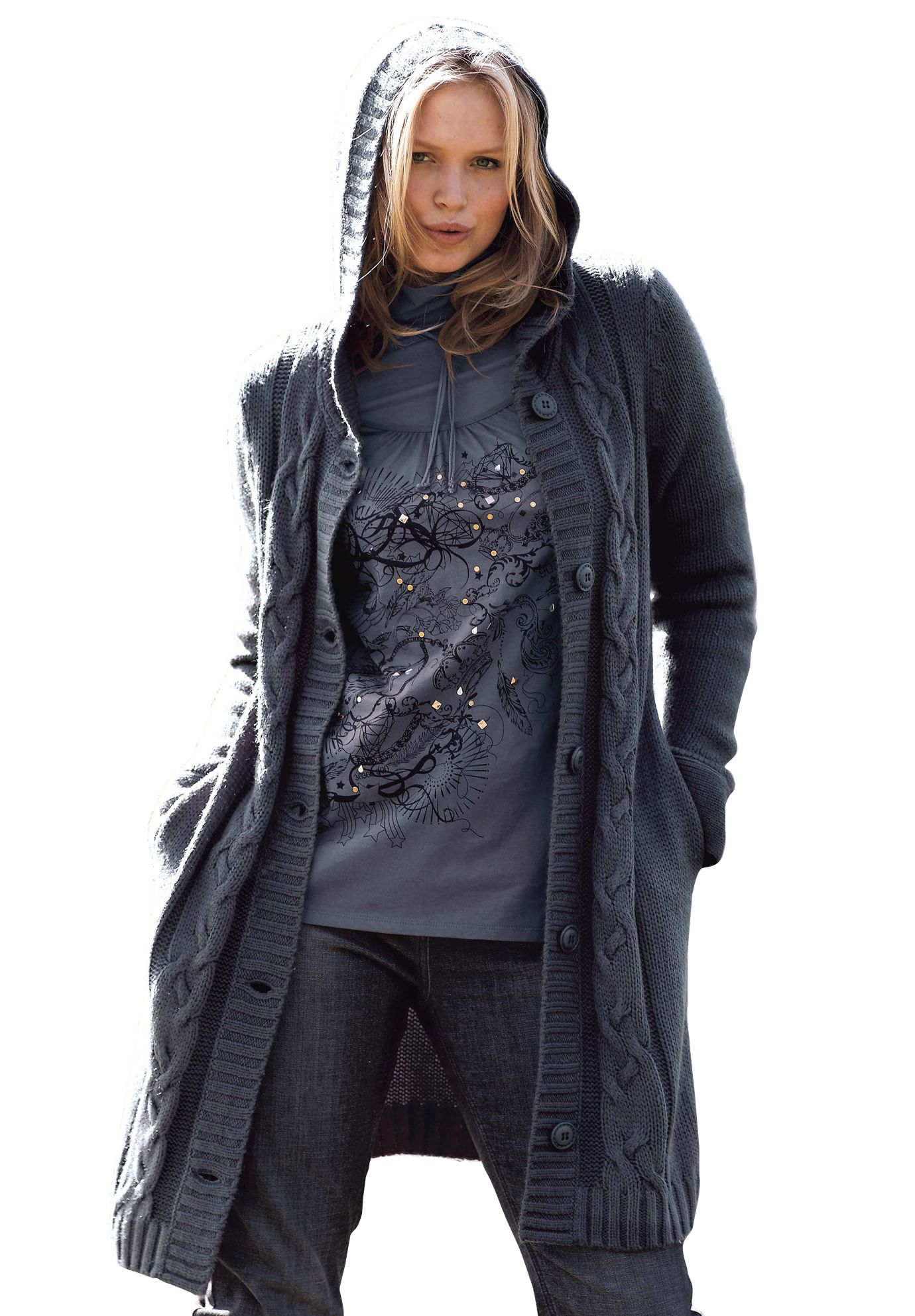 Long Hooded Cardigan by Taillissime®   My Style   Pinterest ...