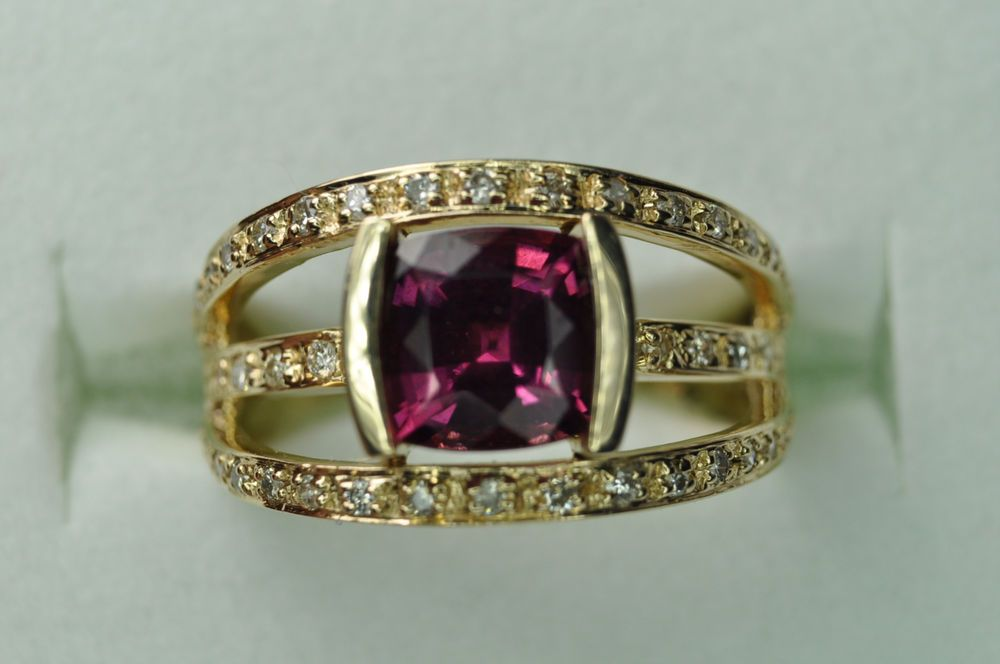 Vintage 14k Yellow Gold Cushion Cut Pink Tourmaline Diamond Ring