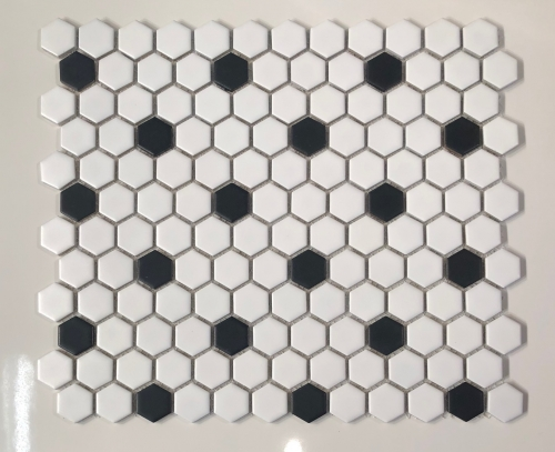 Hex 1015 1 Inch Hexagon Matte White And Black Rosette Pattern Mosaic Tile Mosaic Tiles Retro Tiles Mosaic