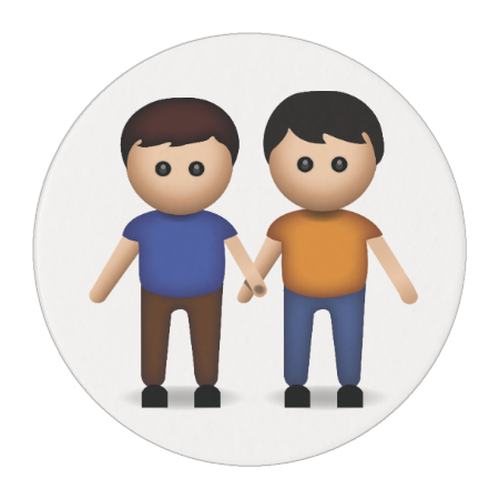 Two Men Holding Hands Emoji Edible Frosting Rounds