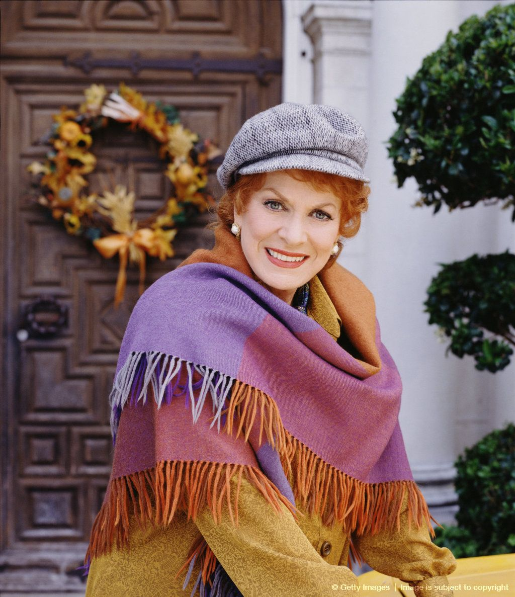 Image detail for -Promotional portrait of Irish-born actress Maureen O'Hara in thetelevision movie 'Cab to Canada,' 1998. She is dressed in a gray cap and purple-hued shawl. #hollywoodstars