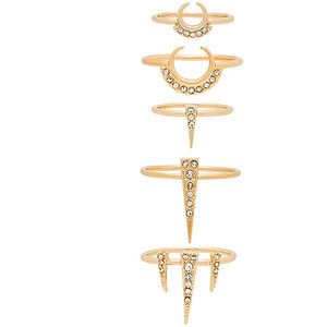 Luv AJ Crescent Spike Ring Set of 5 in Metallic Gold eNGTsP3H