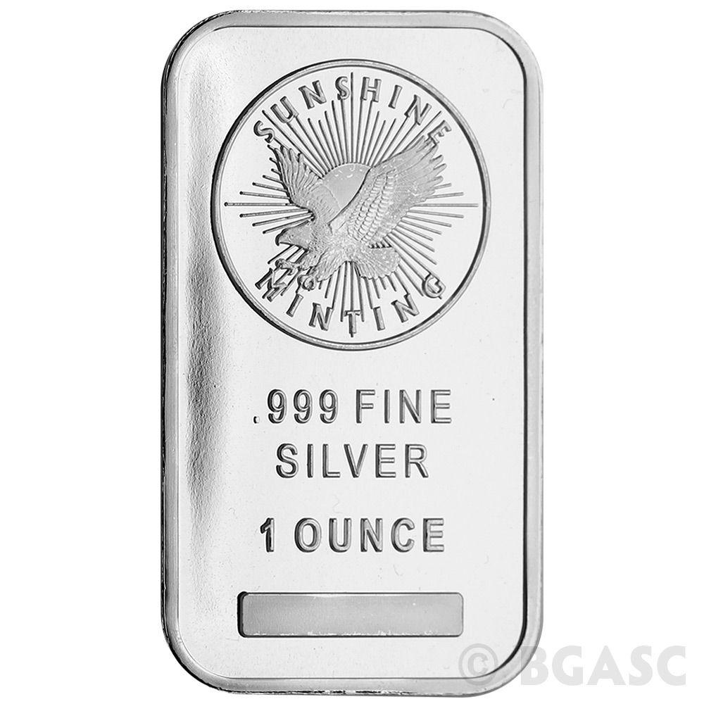 1 Oz Silver Bar Sunshine Minting 999 Fine Bullion Ingot Bgasc Com In 2020 Silver Bars Gold And Silver Coins Gold Bullion