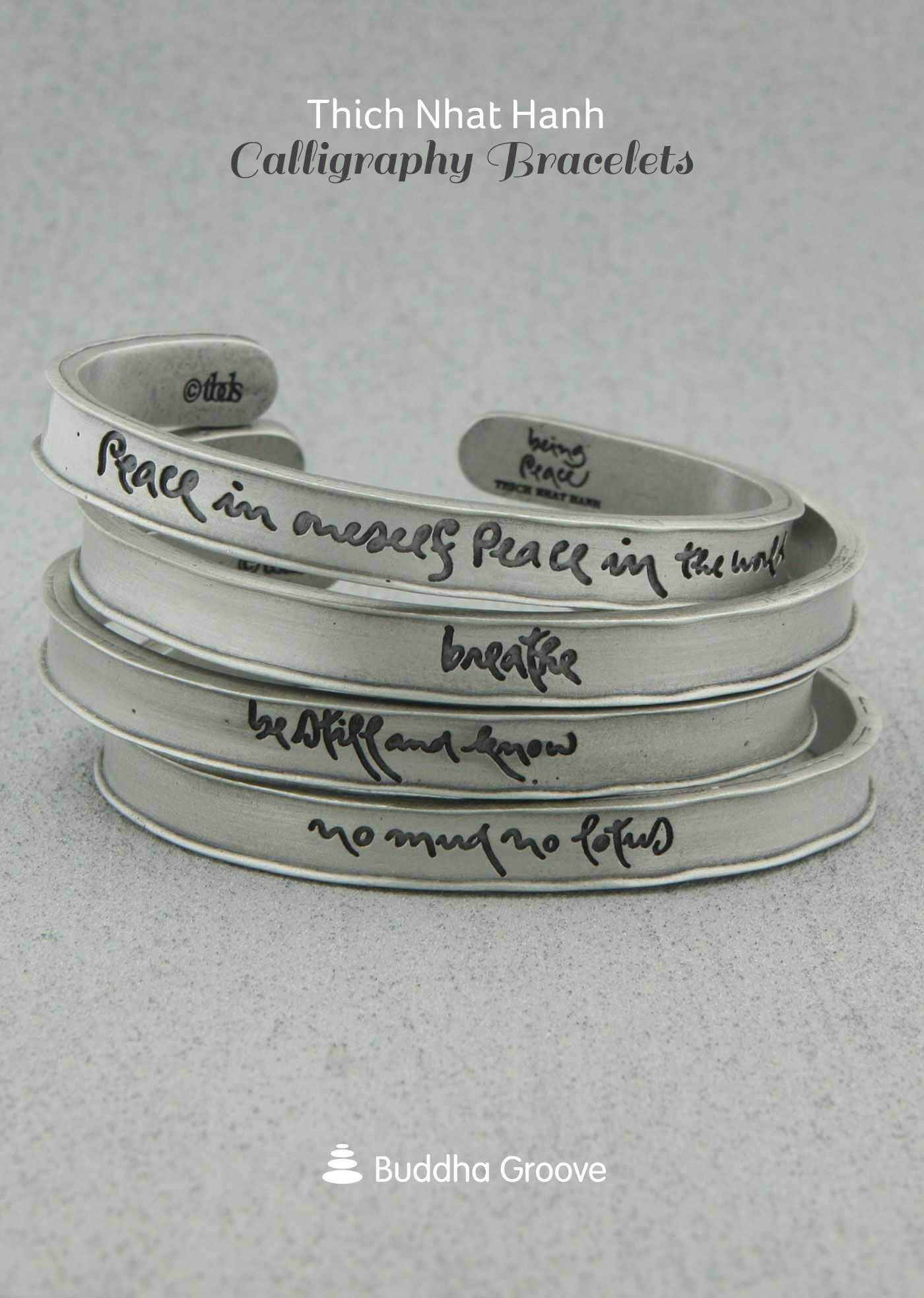 Thich Nhat Hanh Calligraphy Bracelets Metal Jewelry Inspirational Metals