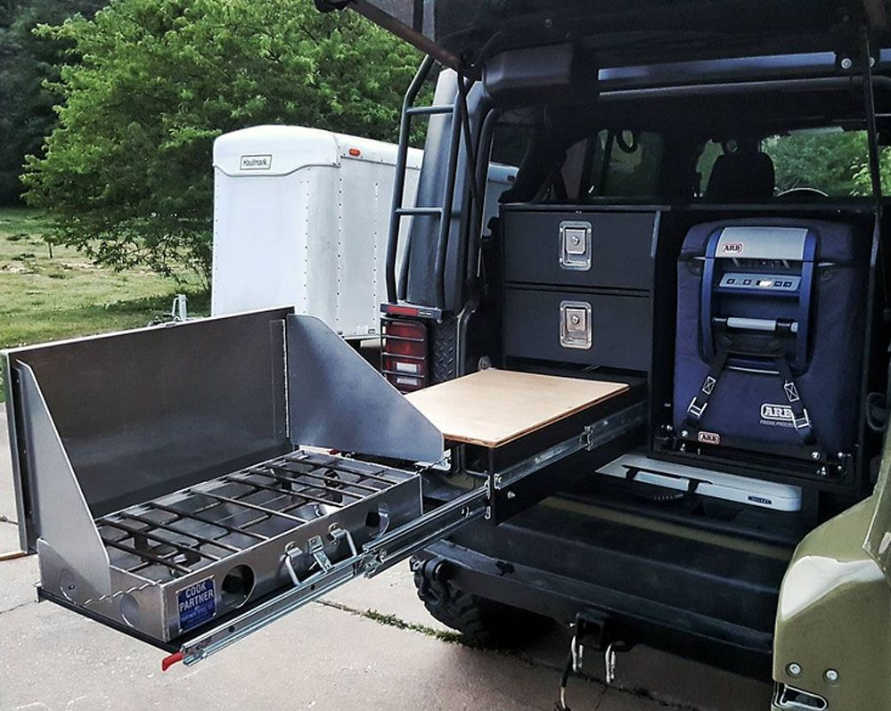 Man S Compact Diy Camping Kitchen System Means Better Off Road Cooking Video Suv