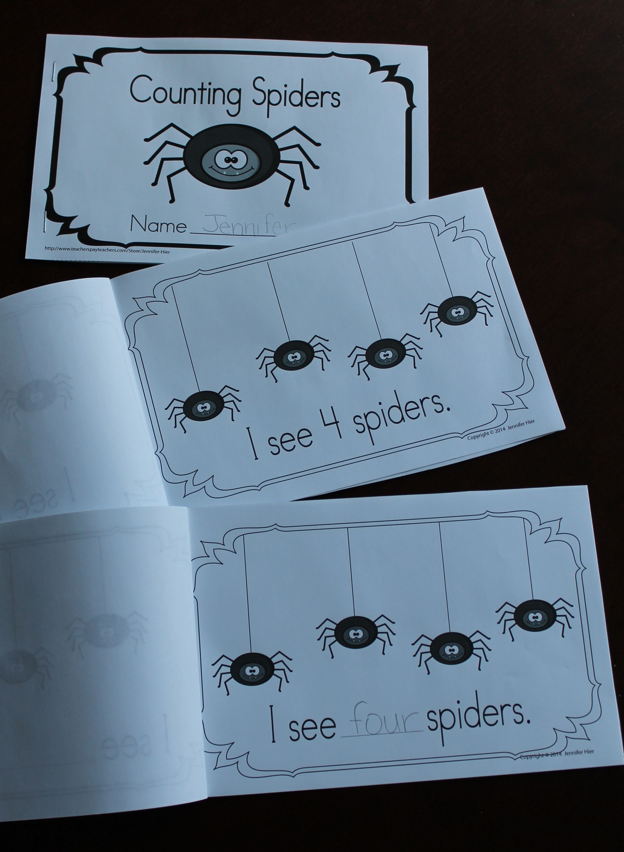 Spiders Counting Spiders Emergent Reader Freebie