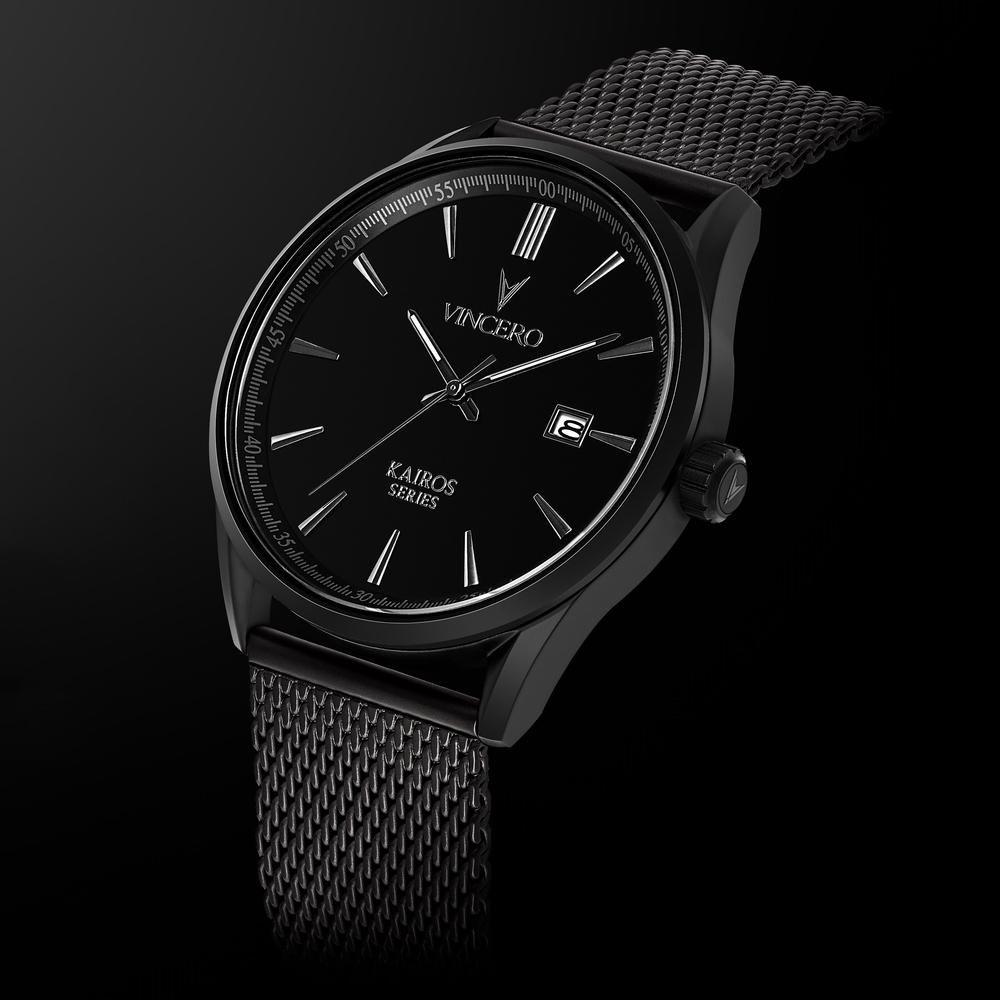 7d551ec3cc2ac Men s Luxury Kairos Watch Matte Black 316L Stainless Steel Mesh Band Black  Watch Face Matte Black Case