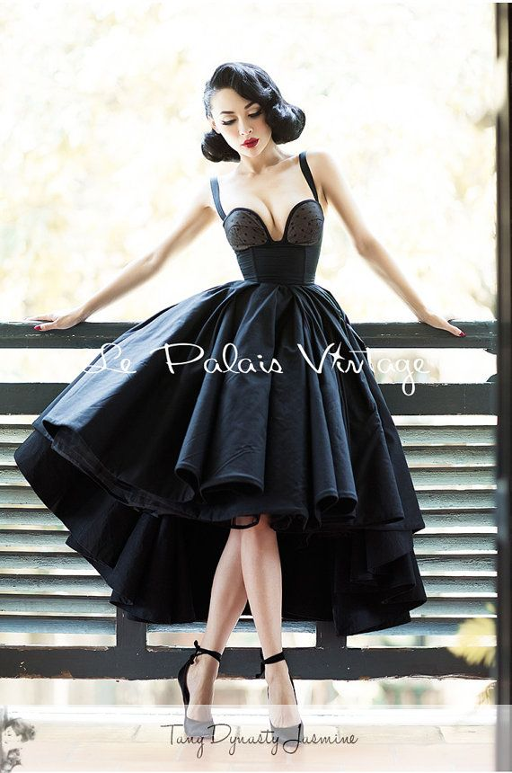 Retro Dress-black-Tuxedo Dress-Ball Gown-Vintage prom dress-Custom ...