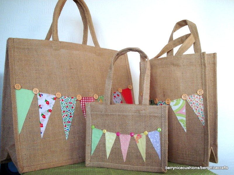 Large Hessian Shopper Tote Bag with Bunting and Button Trim Funky Shopping Bag Mothers Day. £8.00, via Etsy.