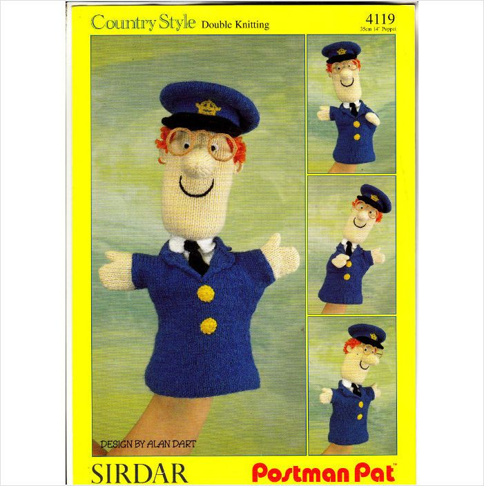 4119 sirdar knitting pattern postman pat glove puppet by alan 4119 sirdar knitting pattern postman pat glove puppet by alan dart dk dt1010fo