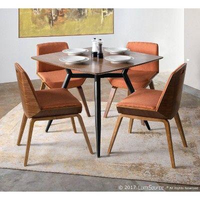 Corazza Mid Century Modern Chair Walnut Wood Orange Fabric
