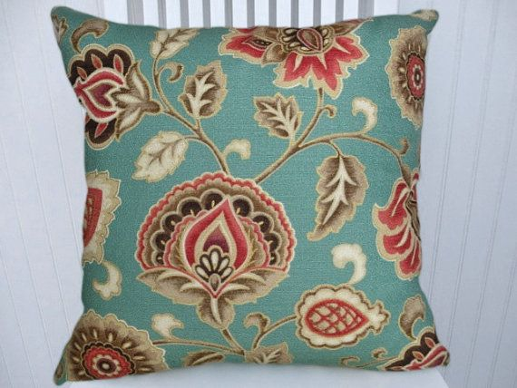 Aqua Red Decorative Pillow Cover 40x40 Or By CodyandCooperDesigns Adorable Red And Turquoise Decorative Pillows