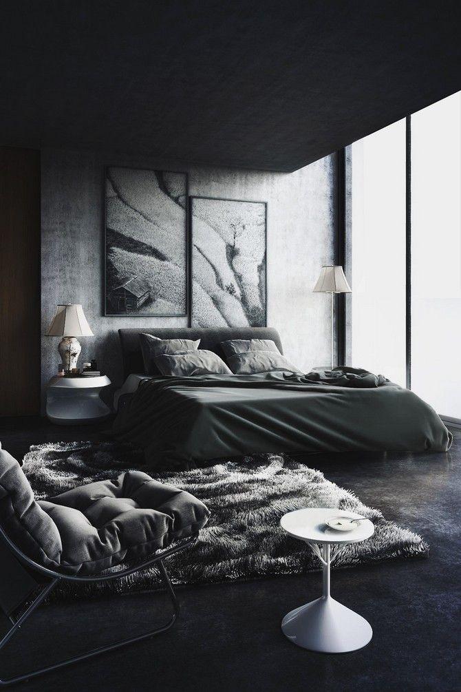 Photo of Ispirazione di design nera per l'arredamento della camera da letto principale – idee di decorazione