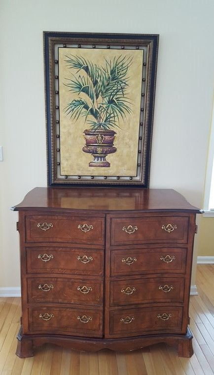 Modern Palm Tree Print With Bowed Front Storage Cabinet In A Decorative Wood Frame