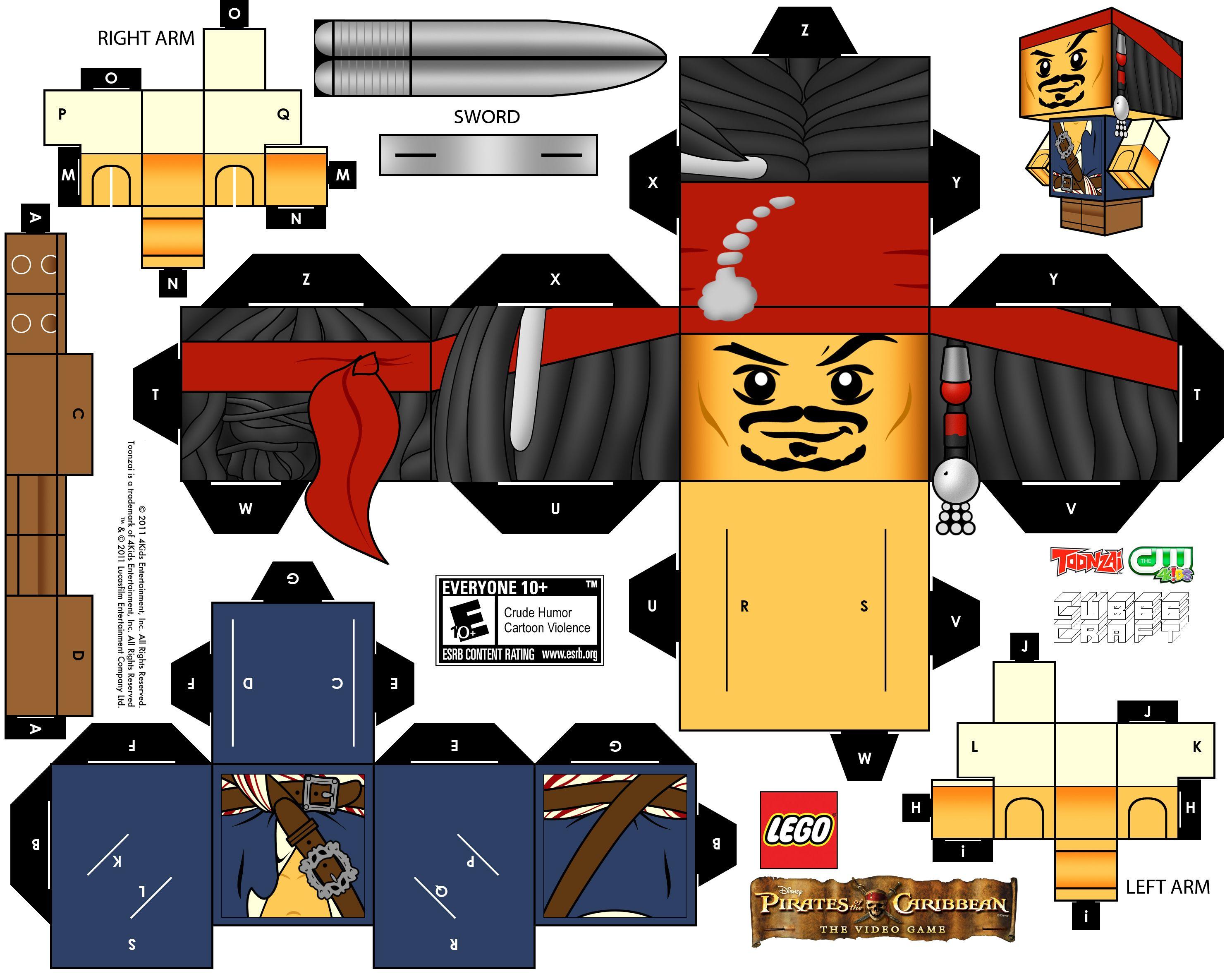 Lego Cubeecraft Jack Sparrow By Randyfivesix Deviantart Com On Deviantart Papierpuppen Piraten Party Bastelideen Kinder