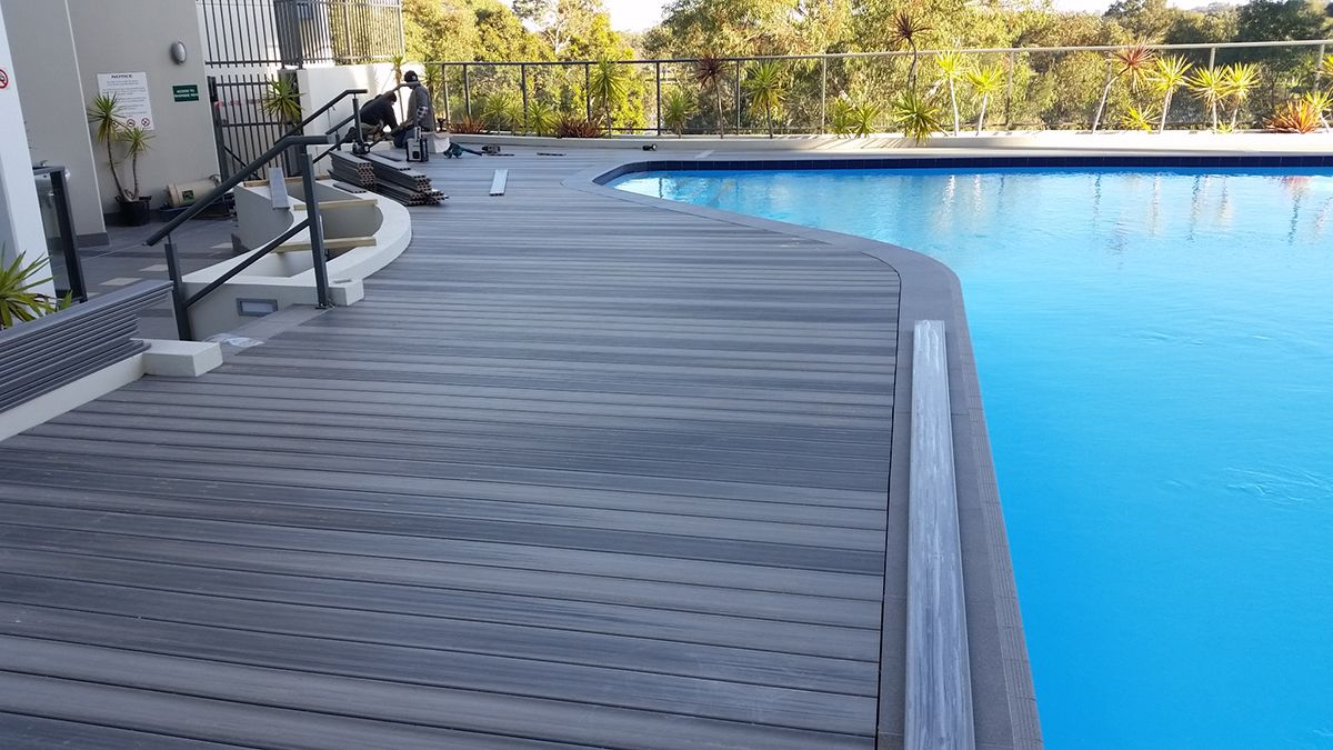 Pool deck deck ebony fence deck pool deck wpc Composite flooring for decks