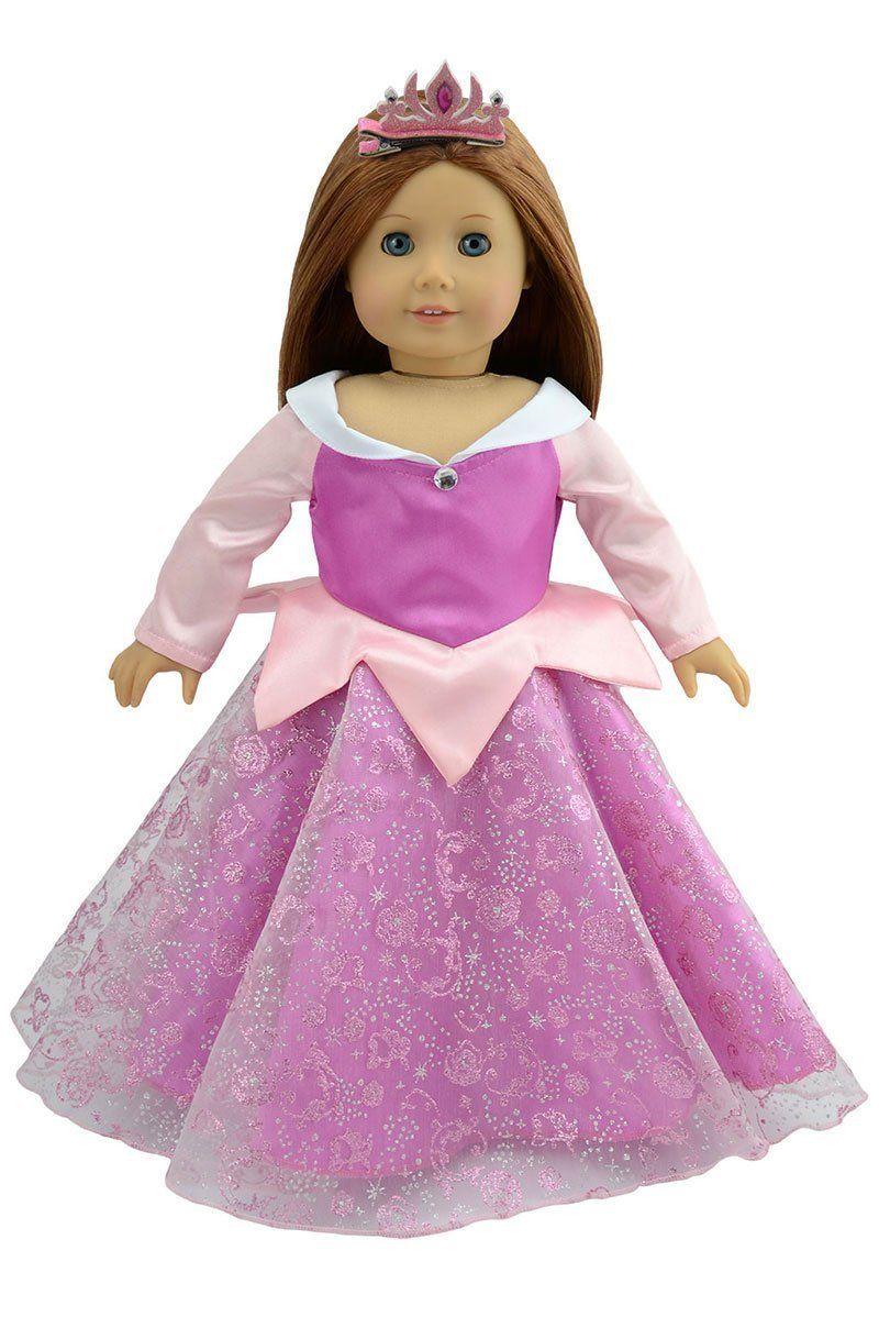Amazon.com: Christmas Doll Clothes Sleeping Beauty Party Dress+Tiara ...