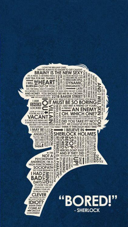 Sherlock Silhouette Filled With Quotes From The Show Komik Internet Fenomenleri Komik Seyler Resimler