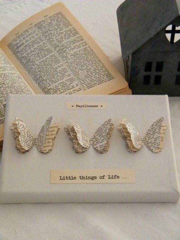 Kreative geschenkverpackung mit schmetterlingen aus - Bilder mit zeitungspapier ...