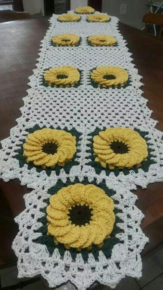 Bonito Patrón De Crochet Girasol Ornamento - Manta de Tejer Patrón ...