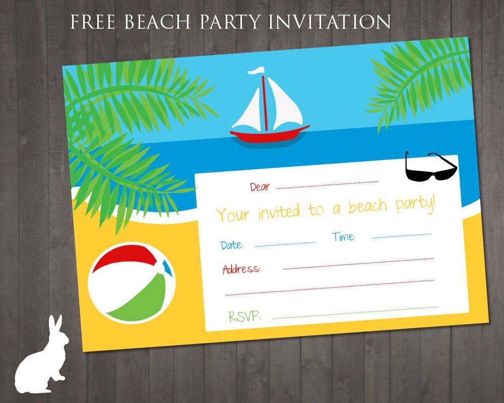 Beach Printable Birthday Invites - Worksheet & Coloring Pages