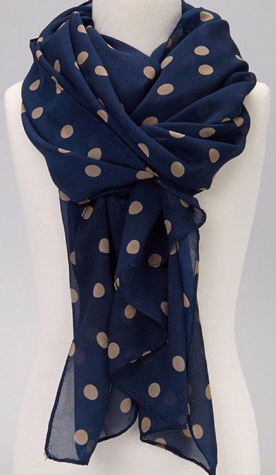 8b48f2cc345 $6.49 - Wear Freedom Blue Scarf With Tan Polka Dot Scarves Shawl ...