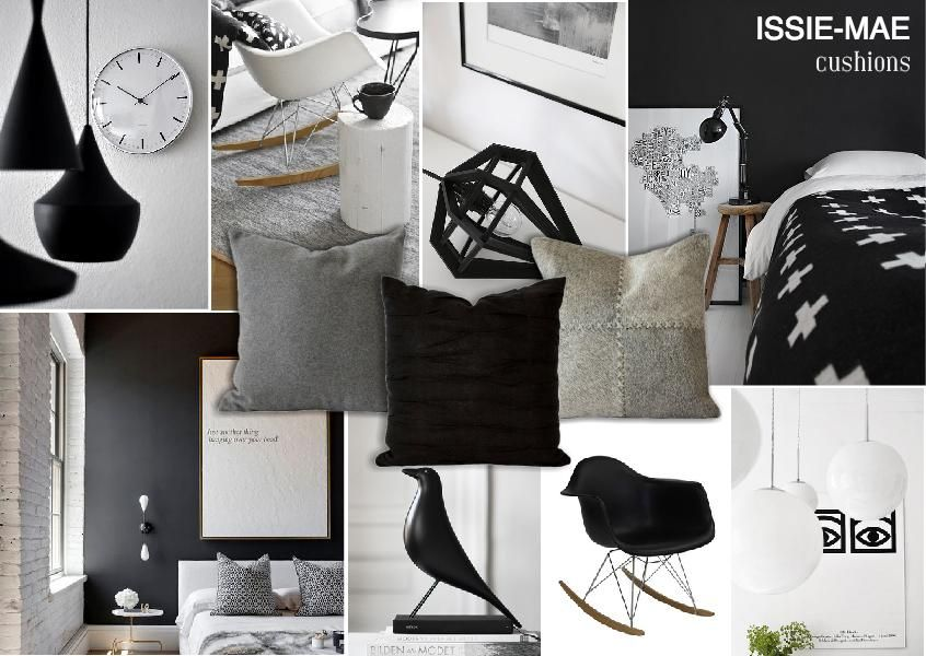 Black And White Interior Mood Board Featuring Issie Mae Cushions Moodboard Created On
