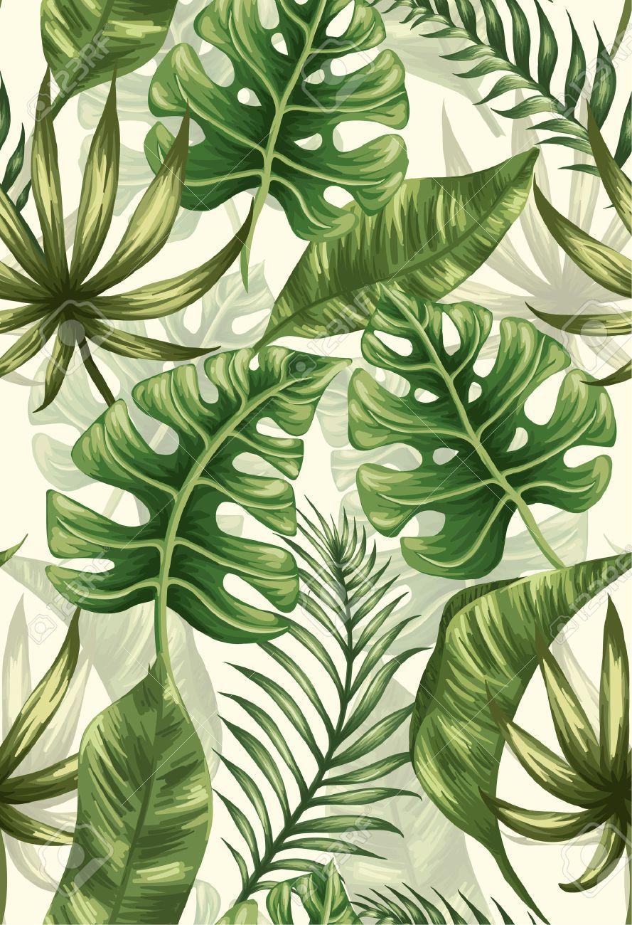Nahtloses Muster Mit Palmblattern Tropische Kunst Natur Kunst Tumblr Bild