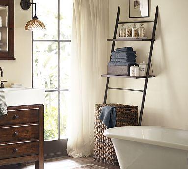 rustic over the toilet etagere potterybarn home ideas pinterest toilet recessed medicine. Black Bedroom Furniture Sets. Home Design Ideas