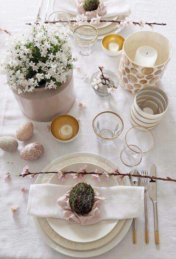 One of my Easter tables this year, decorated in soft pink and white with gold details. Branches of cherry, white campanula and homemade moss eggs are beautiful decoration. Fore more pictures, please visit my interior blog: http://anettewillemine.com/
