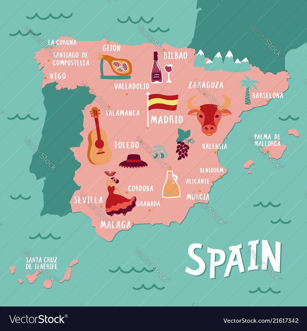 Vector Tourist Map Of Spain Travel Illustration With Spanish National Atributics Vector Illustration Download A Free P Map Of Spain Tourist Map Spain Travel