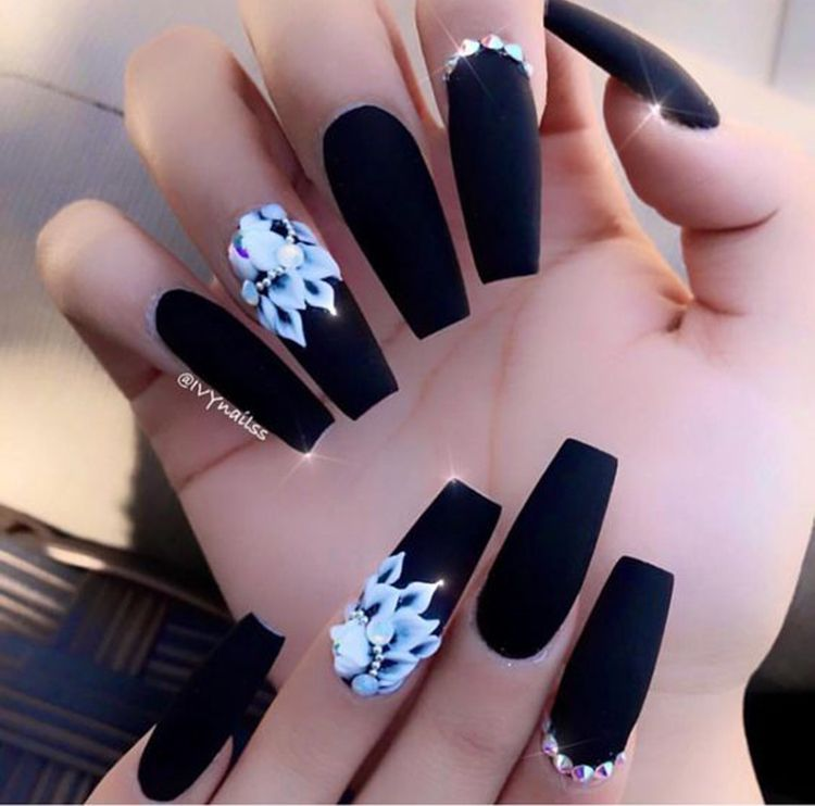 70 Matte Black Coffin Nail Ideas Trend In Cool 2019 Black Nail Designs Coffin Nails Long Matte Nails Design