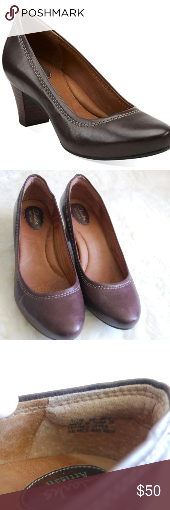 New Clarks heels - Dark Brown - 9 W New Clarks Artisan Decade Rana women's  pump displays the natural beauty of rich premium leather in dark brown.