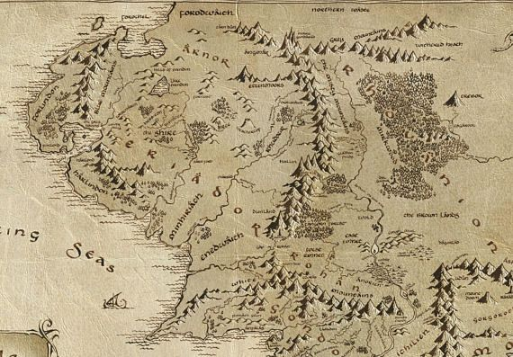 Middle Earth map, Middle Earth poster, Tolkien map, LOTR poster