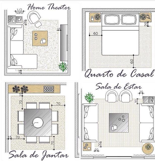 Medidas Minimas Para Sala De Estar ~ Medidas ideais para seu tapete  Salas  Pinterest