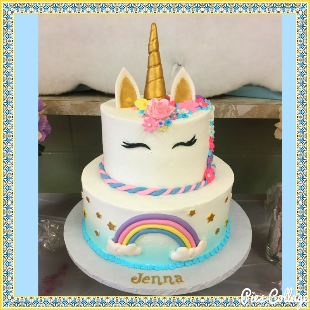 Peachy Unicorns N Rainbows Cake Frosted With Pastry Pride Non Dairy Personalised Birthday Cards Paralily Jamesorg