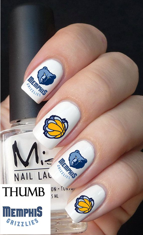 Memphis Grizzlies NBA Nail Decals Pc By DesignerNails On Etsy - How to make nail decals at home