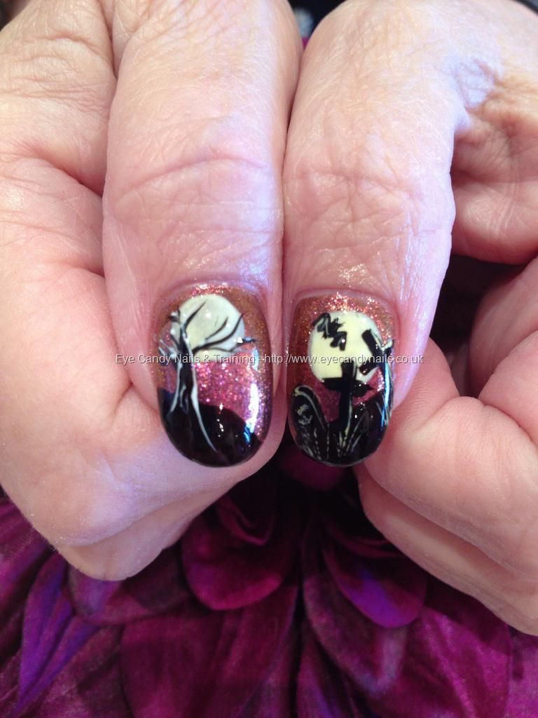 Spooky tree and graveyard freehand Halloween nail art ...