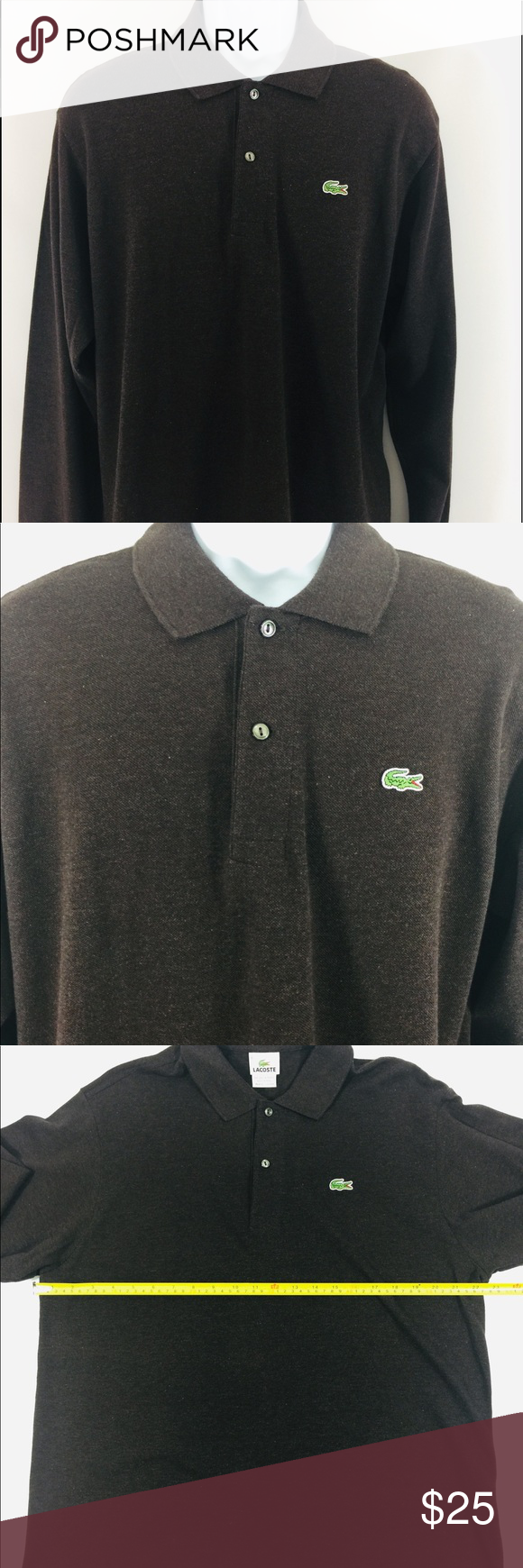3370afe6 Lacoste Polo Brown Sz 6 Mens Large Lacoste Shirt Mens size 6 Large Brown  Long Sleeved Very Good Condition D Lacoste Shirts Polos