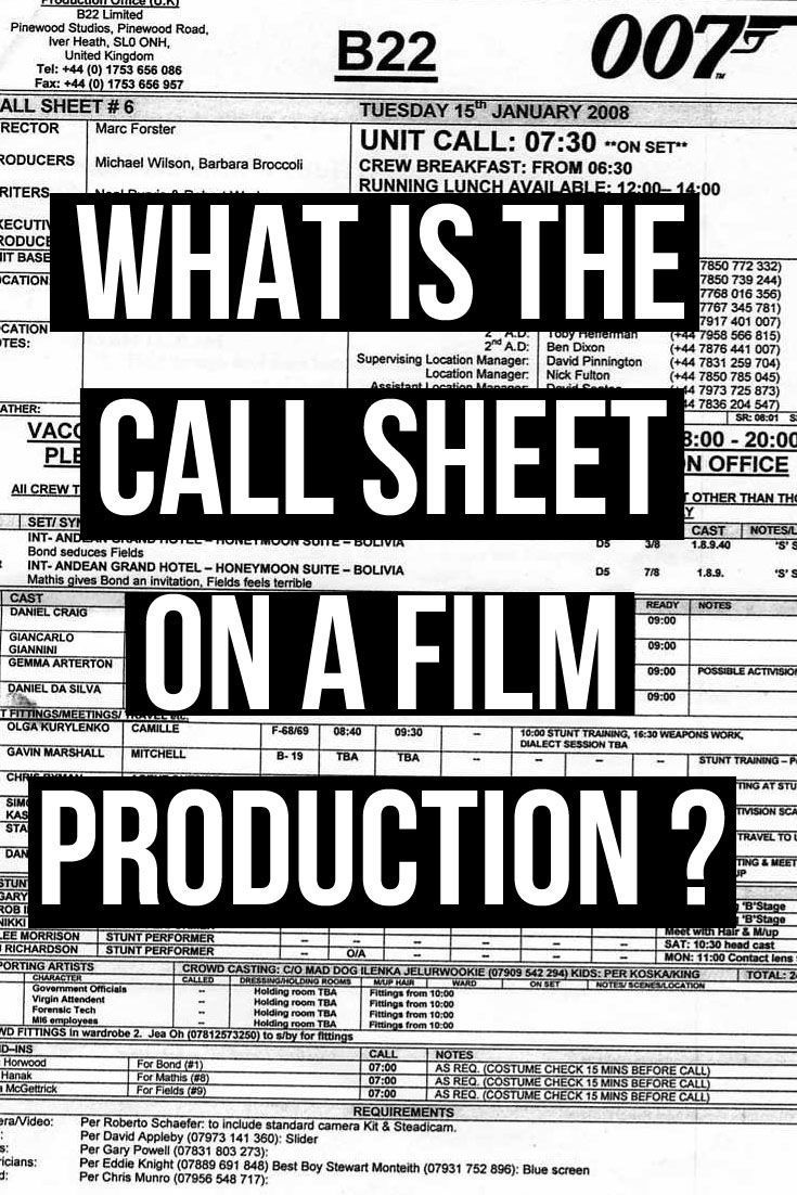 Article what is the Call Sheet on a film production? Plus call sheet ...