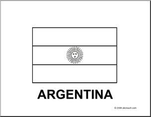 flag argentina bw printable blackline flag