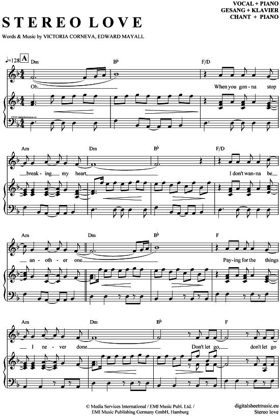 Stereo love (Klavier+Gesang) Edward Maya feat  Vika Jigulina