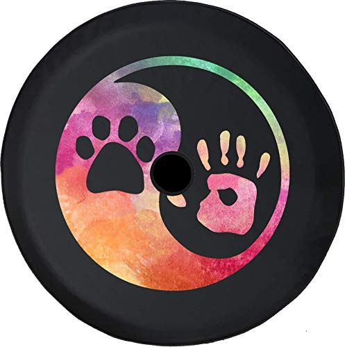 White Dog Paws, Diameter 30.71-31.88 Minisoo 30-31 Spare Tire Cover,Wheel Protectors,Dog Cat Paw Print,Weatherproof Vinyl Leather,for Jeep Wrangler Sahara,Hummer H3,Toyota FJ